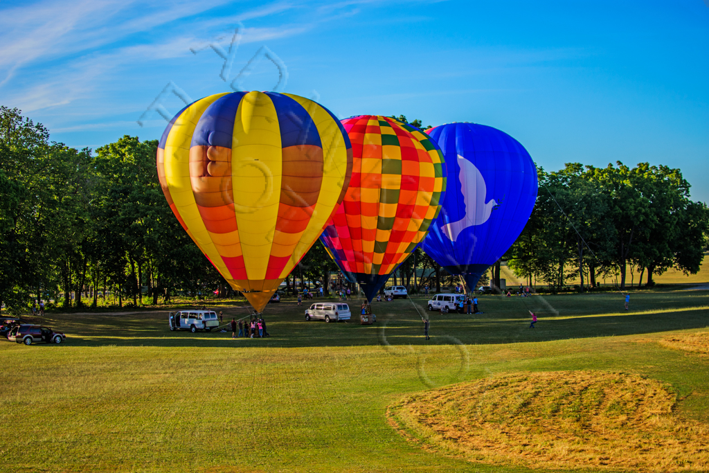 three hot air balloons in a field